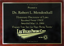CEO Robert L Mendenhall - Honorary Doctorate of Laws